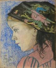 S. Wyspiański, Dziewczynka w krakowskiej huście, 1904, pastel na papierze, Muzeum im. Jacka Malczewskiego w Radomiu.