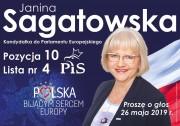 Janina Sagatowska - kandydatka do Parlamentu Europejskiego. Pozycja 10. Lista nr 4 Prawo i Sprawiedliwość.