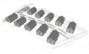 W planach jest budowa 10 budynków mieszkalnych, wielorodzinnych, 4-kondygnacyjnych oraz budynku handlowo-usługowego, 2-kondygnacyjngo.
