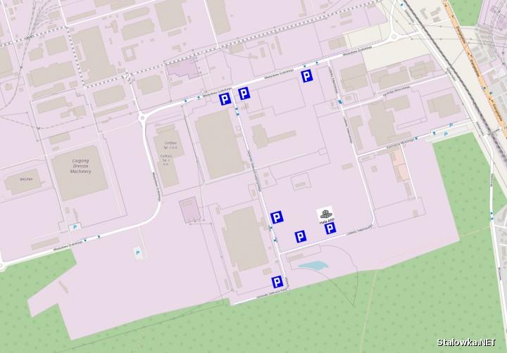 Mapa miejsc parkingowych.