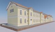 Wizualizacja dworca PKP w Rozwadowie od ulicy Dąbrowskiego.