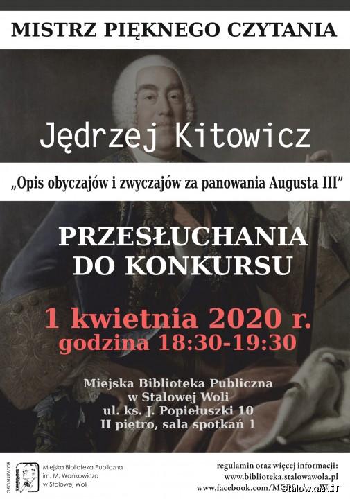 Finaliści konkursu wezmą udział w publicznym czytaniu Opisu obyczajów i zwyczajów za panowania Augusta III Jędrzeja Kitowicza.