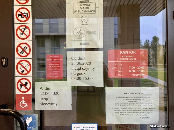 Główna poczta na Popiełuszki ze względu na zaistniałą sytuację, ma skrócone godziny pracy. Zamiast od 7:00 do 20:00, funkcjonuje od 8:00 do 15:00.