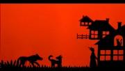 Wilk na weseluzostał opracowany w technice teatru cieni w wykonaniu Janiny Wań.