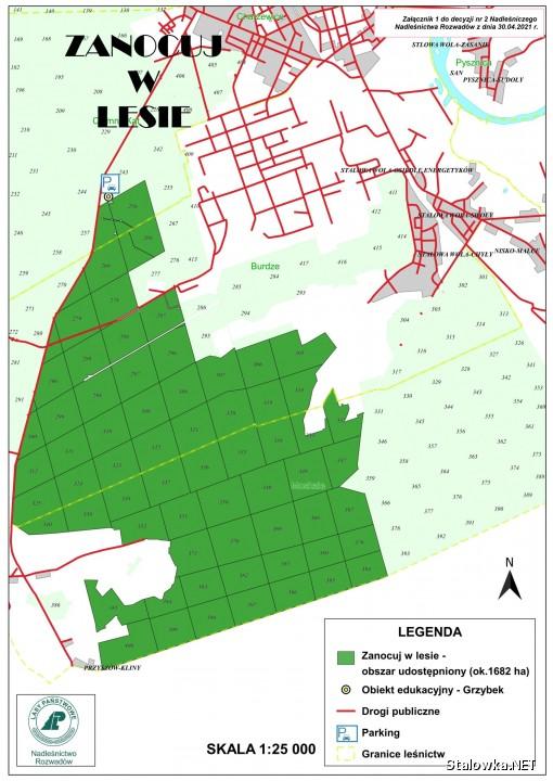 W okolicach Stalowej Woli wyznaczony obszar w ramach programu znajduje się w Obrębie Leśnym Rozwadów, częściowo w Leśnictwie Ciemny Kąt, Leśnictwie Burdze i Leśnictwie Moskale.