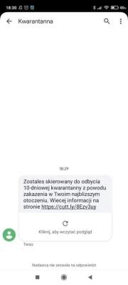 Uwaga na fałszywe sms-y o nałożeniu kwarantanny.