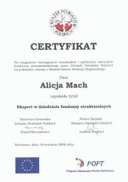 Certyfikat dla Eksperta w dziedzinie funduszy strukturalnych.