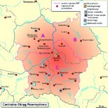 Centralny Okręg Przemysłowy - mapa obszaru