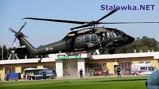 TV Stalowa Wola: Lądowanie śmigłowca Black Hawk na stadionie MOSiR w Stalowej Woli