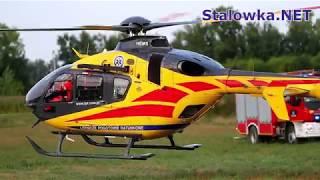 TV Stalowa Wola: Start śmigłowca LPR (SP-HXI) po wypadku na trasie Stalowa Wola - Sandomierz